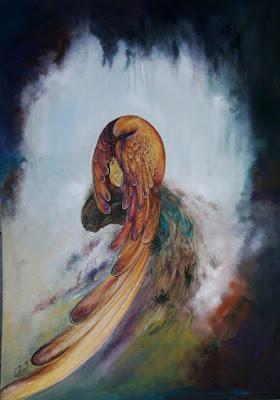 نقاشی مژده شیرازی mojdeh shirazi painting mozhde shirazy پرنده نشسته مهر پرنده مادر به جوجه اش