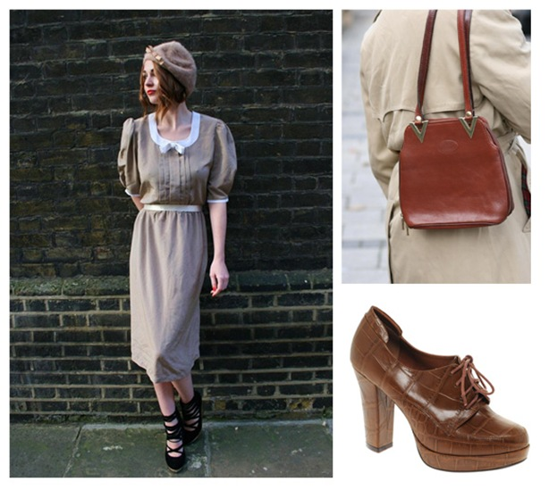 A simple vintage dress, looks great paired with classic tan accessories.