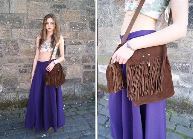 This chocolate fringed bag is one of the sexiest summer things I have ever seen with my eyes. Bonus points for the purple Palazzos.