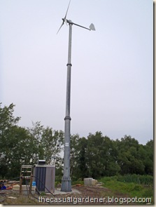 Wind turbine used for water pumping at the reed bed station.