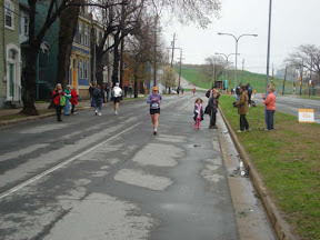 Approaching the marathon finish line at the Bluenose International Marathon