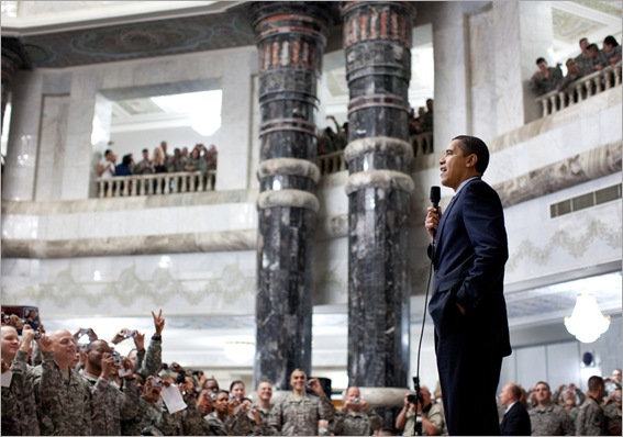President Barack Obama addresses U.S. troops during his visit to Camp Victory, Baghdad, Iraq on April 7th, 2009. (Official White House Photo by Pete Souza)