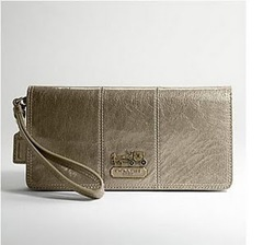 Coach Gold Tribeca Leather Clutch Wristlet