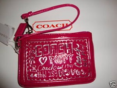 Coach Magenta Poppy Patent Leather Wristlet