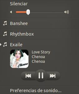 Integrar Exaile en el menu de sonido de Ubuntu