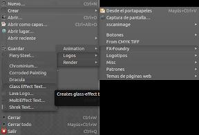 Crear un logo de cristal con Gimp en Ubuntu