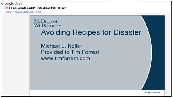 Avoiding Recipes for Disaster - Patents and Intellectual Property