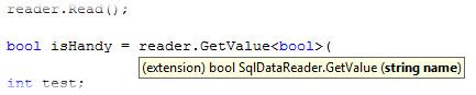 SqlDataReader GetValue Extension Method