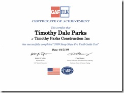 Timothy Parks GAF Elk Steep Slope Certification