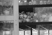 Skulls inside the monument at the Killing Fields, Cambodia