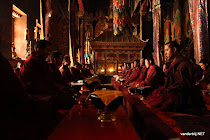 Tibetan monks congregating in Sakya monastery