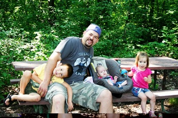 camping dad and kids
