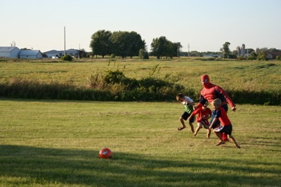 Soccer with Spiderman