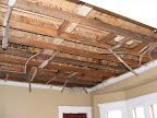 Exposed ceiling in the dining room