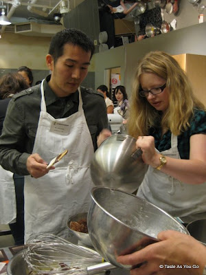 Marc and Ulla at the Scharffen Berger Chocolate Cooking Class - Photo by Taste As You Go