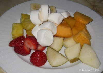 Fresh Fruit Fondue Accompaniment at Swizz Restaurant & Wine Bar in New York, NY - Photo by Taste As You Go