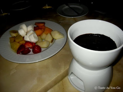 Jacques Torres Chocolate Fondue with Fresh Fruit at Swizz Restaurant & Wine Bar in New York, NY - Photo by Taste As You Go