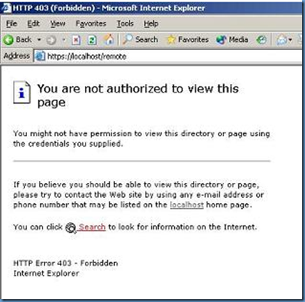 you are not authorized to view this page iis: