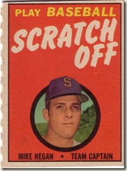 1970 Mike Hegan Topps Scratch Off