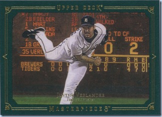 2008 Masterpieces Verlander Green 34 of 75