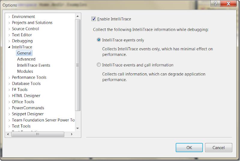 Скриншот: Настройки IntelliTrace