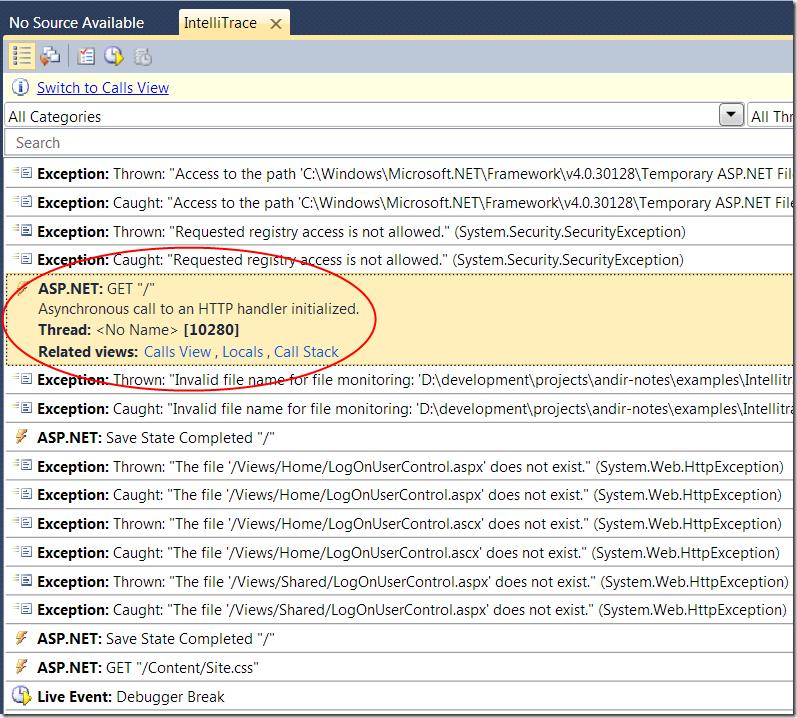 Скриншот: стэк вызовов для данного события залогированного IntelliTrace для ASP.Net Mvc приложения