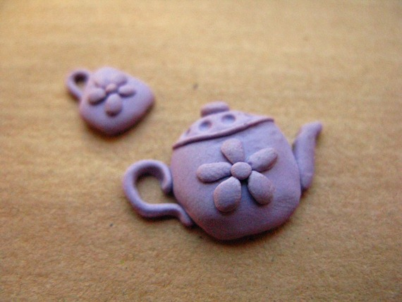 polymer clay teapot and cup