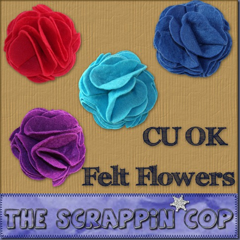 "Free ""Felt Flowers"" from The Scrappin Cop - {CU}"