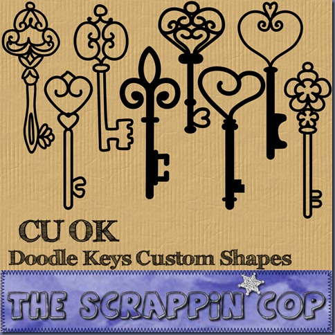 "Free ""Doodled Key Shapes"" from The Scrappin Cop - {CU}"