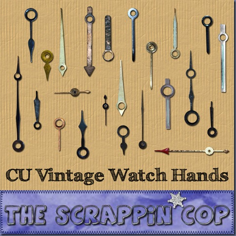 "Free ""Vintage Watch Hands"" from The Scrappin Cop - {CU}"
