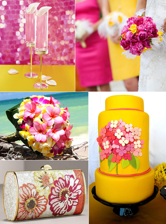 Pink And Yellow Wedding Dresses : Paper olive the hot pink lemon yellow joyful chic