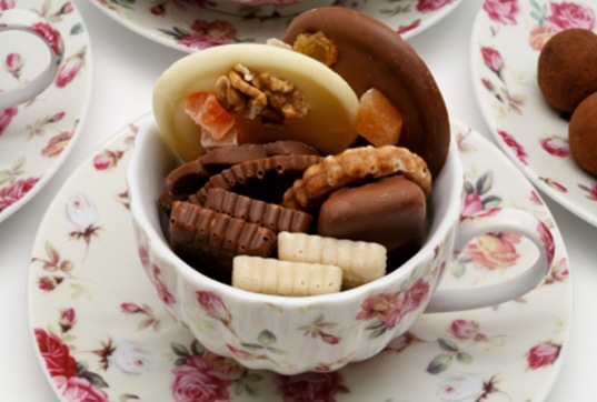 chocolates in a teacup