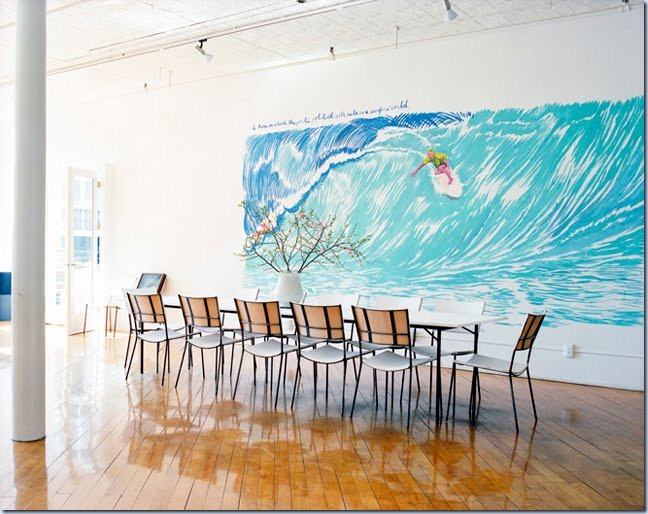ngoc_minh_ngo_pettibon_mural_dining_room_art_surfing_wave_water cococozy