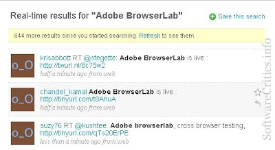 Affiliate site where tweets about Adobe BrowserLab containg links are pointing to dubious sites