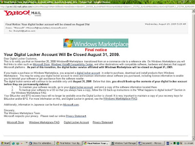 Windows Marketplace Final Notice on Digital Locker Service Closing