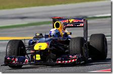 Vettel con la Red Bull nei test di Barcellona