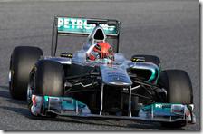 Schumacher con la Mercedes nei test di Barcellona