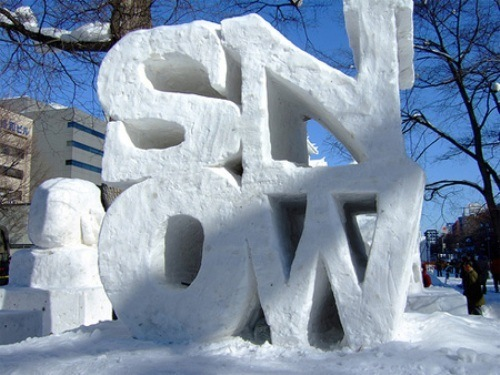SnowWordSculptureLoveArt