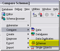 Database->Compare->Schemas