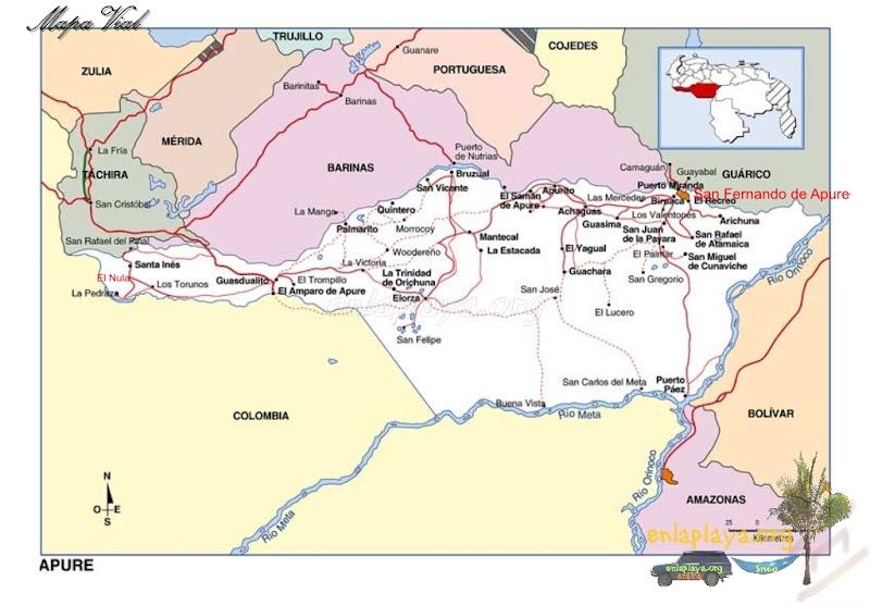 Mapa vial del Estado Apure