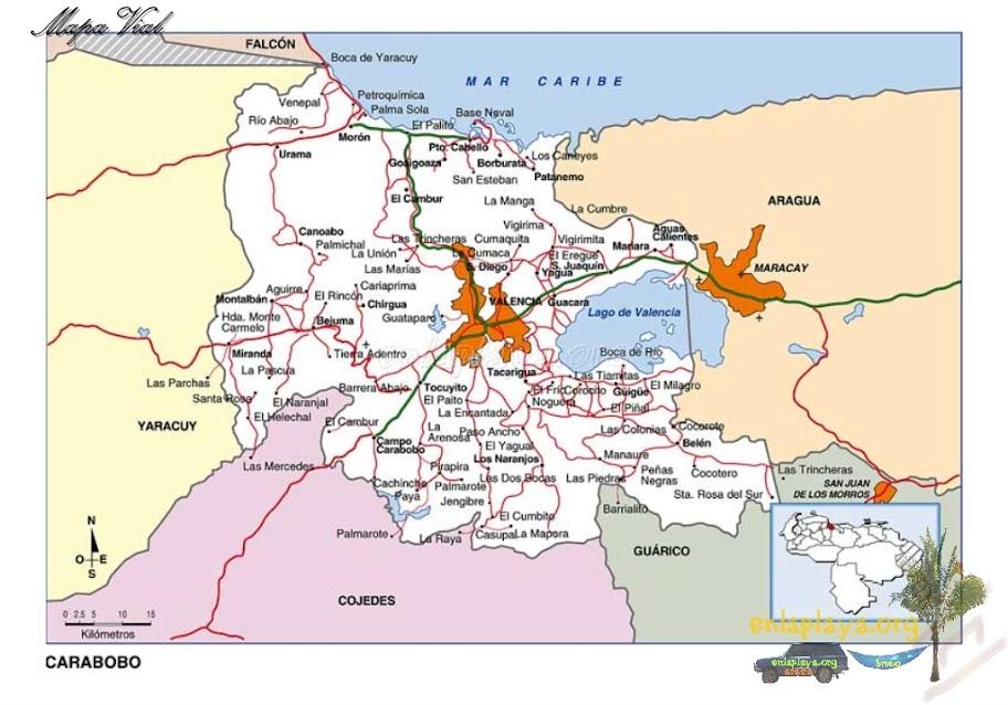 Mapa vial del Estado Carabobo
