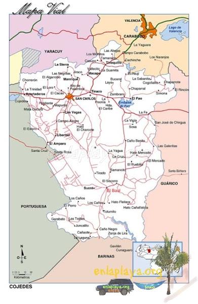 Mapa vial del Estado Cojedes