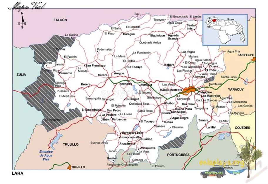 Mapa vial del Estado Lara