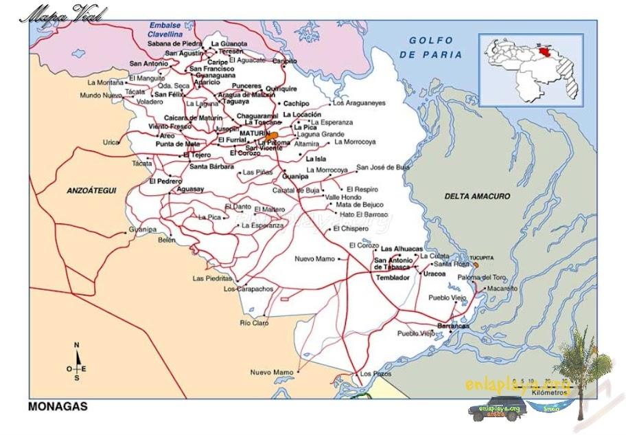 Mapa vial del Estado Monagas
