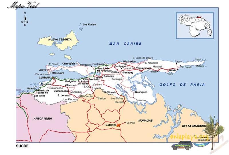 Mapa vial del Estado Sucre