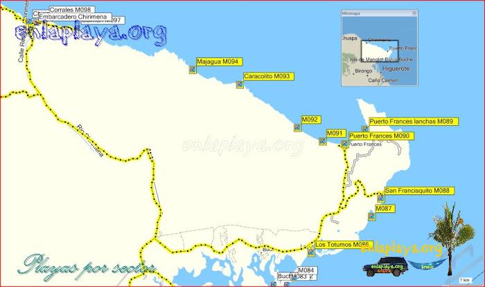 Puerto Frances - Playas desde Los Totumos hasta Majagua