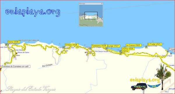 Playas desde Urama hasta Osma