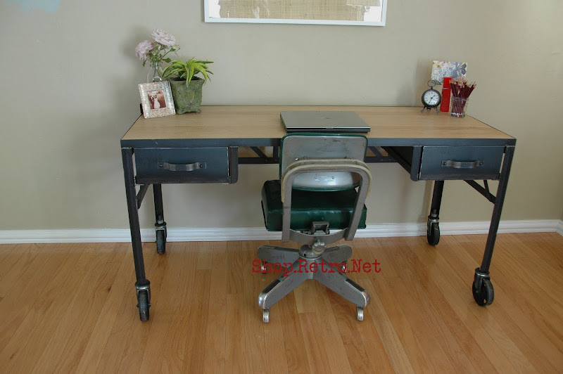 French Vintage Industrial Steel and White Oak Desk on Casters. - http://