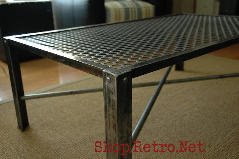 Industrial metal coffee table vintage industrial furniture Industrial metal coffee table
