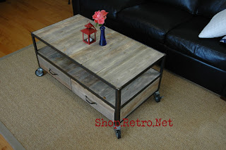 French Industrial Coffee Table with casters and 2 drawers - $545 vintageaz.blogspot.com